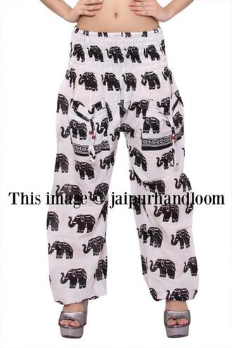 pajamas burning man pants elephant printed pants mens pajamas mens harem pants yoga pants women pants party pants beach pants hippie trousers unisex harem pants afghani pants ninja pants burning man clothing wide-leg pants