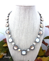 jewels,siggy jewelry,jewelry,necklace,statement necklace,sparkle,glamour,large stone,fancy,white,neutral,shimmer,style,fashionsita,opal,champagne,outfit,accessories,etsy,party,holidays,holiday gift,hand made,swarovski
