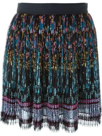 skirt pleated skirt pleated floral print black