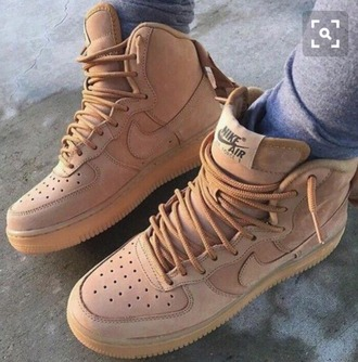 shoes nike air force 1 high top sneakers nike beige