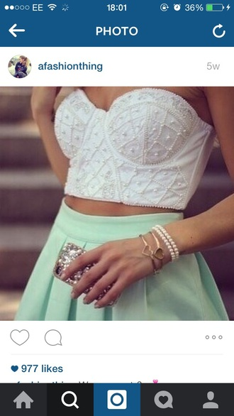 skirt mint skater skirt white top crop tops
