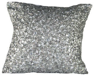 Silver Sequins Poly Blend 20 x 20 Decorative Pillow - Contemporary - Bed Pillows - by Bellacor