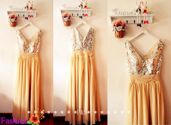 Champagne Sequin Prom Dress Sexy Evening Gown by FashionStreets