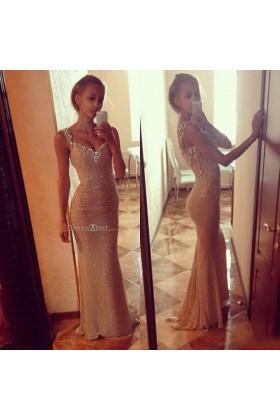 Sparkling sequin champagne satin evening dress
