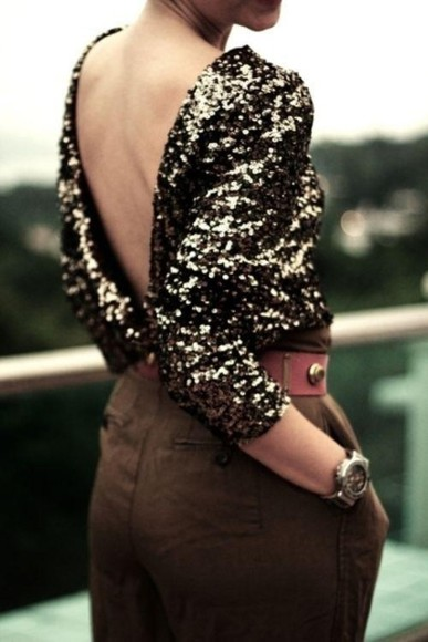 blouse v back long sleeves sequined sequins top backless backless top