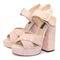 Pink platform high heeled sandals