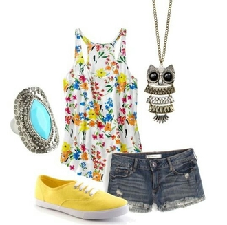 tank top yellow shorts necklace owl floral floral tank top