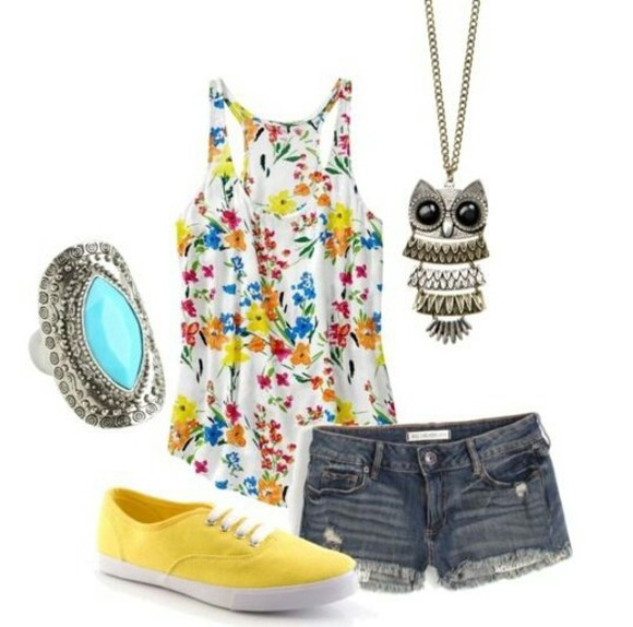 owl necklace floral tank top yellow shorts flowers floral tank top