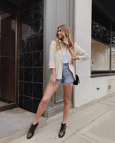 shorts top denim denim shorts blazer shoes bag black bag