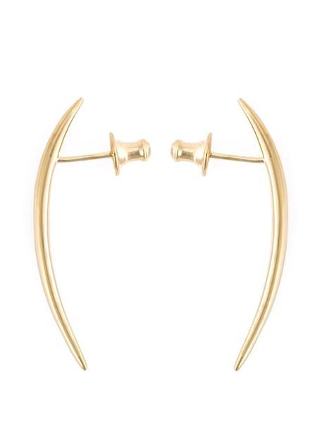 SHAUN LEANE short women earrings gold silver grey metallic jewels