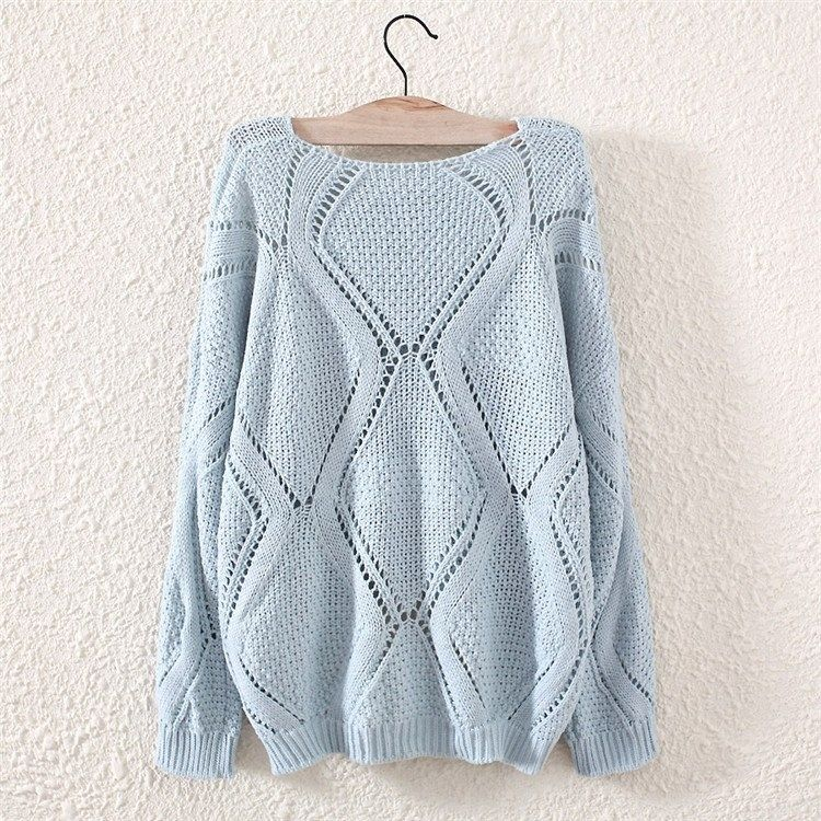 Womens Long Sleeve Geometric Hollow Loose Knit Pullovers Sweater Knitwear Tops
