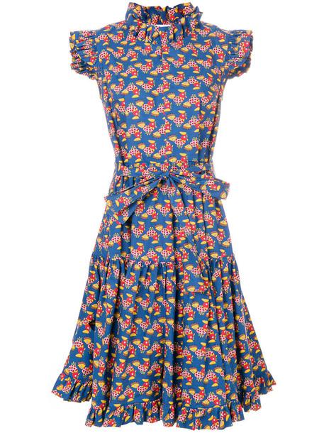 dress print dress women cotton print blue