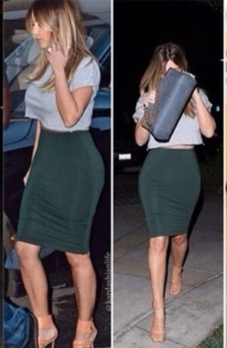 skirt dark dark green kim kardashian