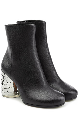 heel leather ankle boots statement boots ankle boots leather black shoes