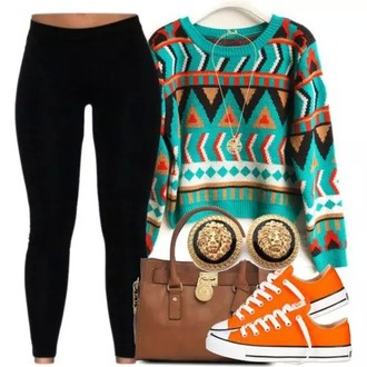sweater aztec sweater blue orange black white yellow