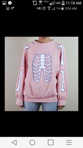 sweater pink pastel goth pastel pink skeleton bones