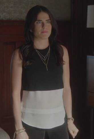 top black and white layered sleeveless how to get away with murder laurel castillo karla souza sleeveless top