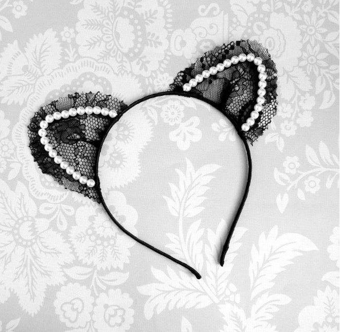 Raw Edge Black Net Flower Lace Crystal Pearl Cat Ear