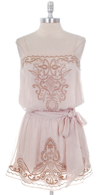 dress embroidered beige tan embroidered dress