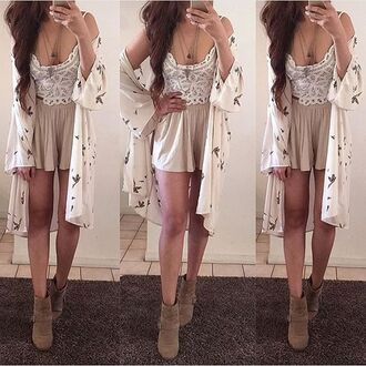 cardigan kimono crop tops tank top crop tank lace white lace lace crop top shorts cream