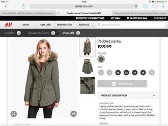 coat parka khaki padded coat padded army green jacket hoodie hoodie jacket fur coat white