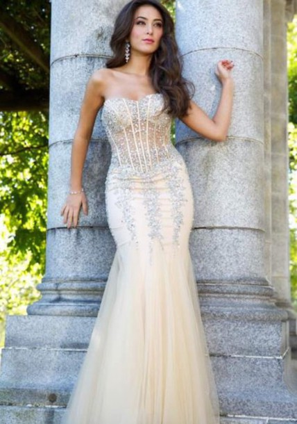 dress mermaid prom dress nude dress long dress elegant dress champagne dress gold sequins