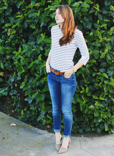 these days blogger jeans striped top shirt shoes
