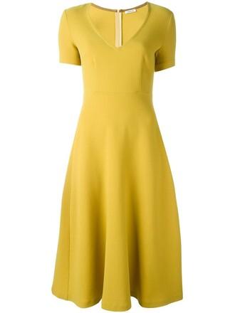 dress short women spandex wool yellow orange
