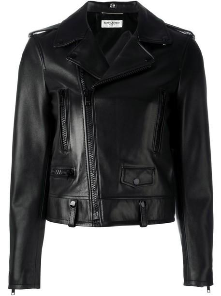 Saint Laurent jacket biker jacket women classic cotton black