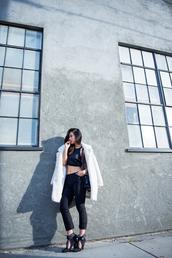 neon blush,blogger,crop tops,black heels,fuzzy coat,cropped pants,coat,top,pants,shoes,white fluffy coat,black crop top,black top,black pants,black bag,high heels