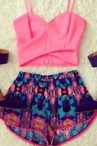 top blue shorts printed shorts pink top