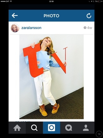blouse blue blue blouse banana white trousers white pants shoes hat phone cover jacket