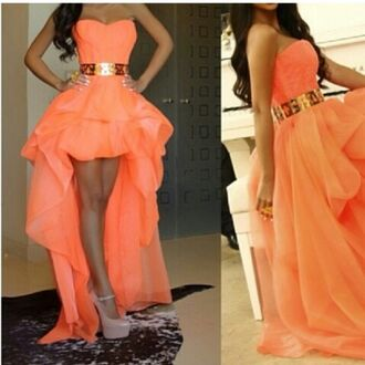 dress coral dress high low dress gold belt peach dress fashion prom dress sweetheart dress prettydress pink prom halter dress high-low dresses cute dress layered dress trendy runway chiffon dress dreamdress belt coral gold belt peach dress