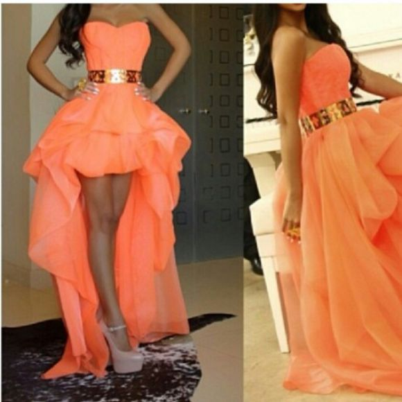 dress halter dress pink chiffon dress coral dress highlowdress gold belt peachdress fashion prom dress beautiful dress sweetheart dresses prettydress prom2014 high-low dresses cute dress layered dress trending runway dress dreamdress belt coral gold belt peach dress