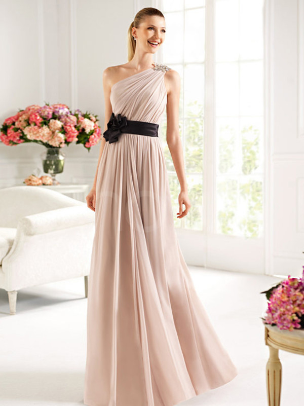 dress long floor length chiffon prom dress one- shoulder neckline and natural waistline