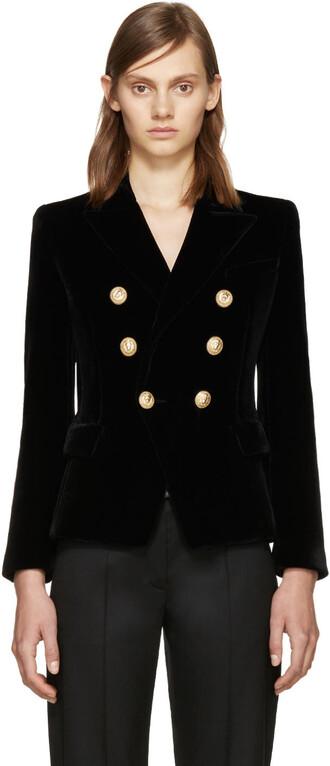 blazer classic black velvet jacket