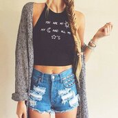 top,you are my sunshine,quote on it,text tee,croppped,crop tops,black,white,vintagemer,.summer,summer,oufit,boho,bohemian,grunge,hipster,girl,tumblr,internet,brandy melville,sweater