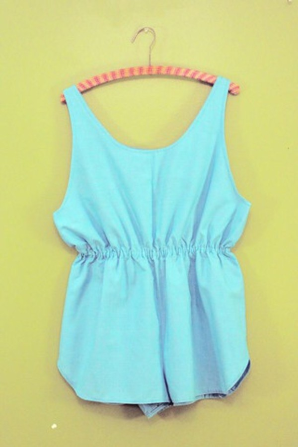 romper fashion aqua blue dress sexy dress cute dress lovely pepa