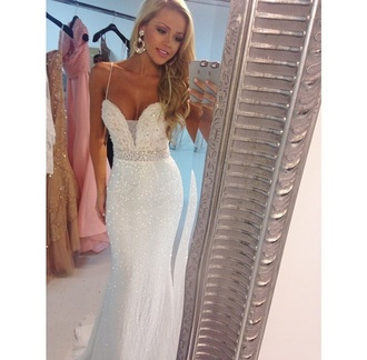 white prom dress sherri hill prom dress long sparkly mermaid couture