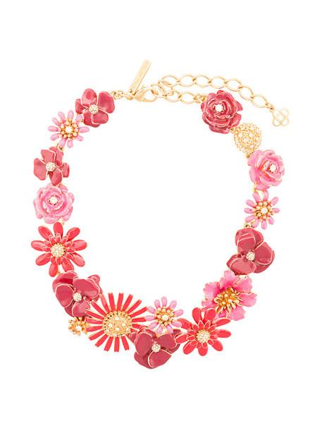 oscar de la renta women necklace floral red jewels