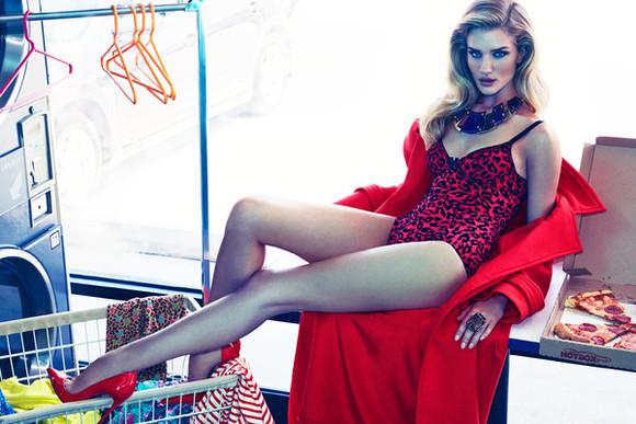 rosie huntington-whiteley shoes red underwear bodysuit leopard print heels coat