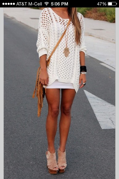 dress knit dress bag sweater crochet shoes white knit sweater holy i need it now swimwear