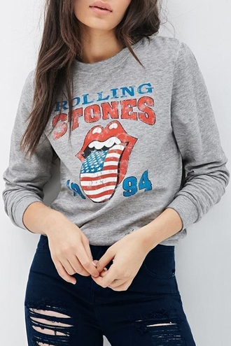 sweater grey cool long sleeves letter and cartoon print long sleeves sweatshirt trendy casual sweatshirt style fashion