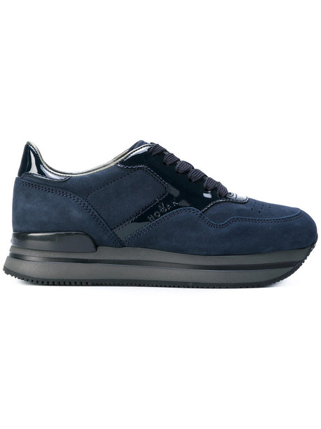 Hogan women sneakers lace leather blue suede shoes