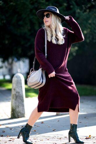 dress tumblr sweater dress burgundy burgundy dress midi dress long sleeves knitwear knitted dress boots black boots ankle boots high heels boots bag grey bag hat black hat