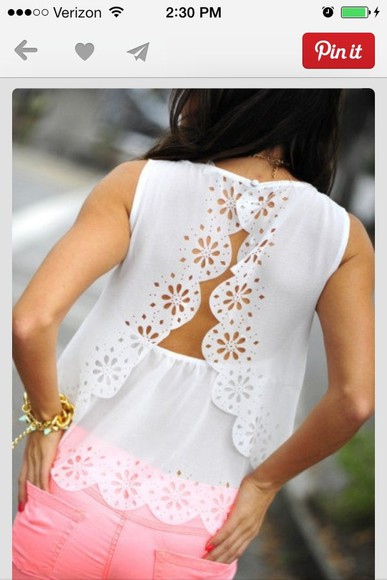 blouse white blouse laser cut cute blouse