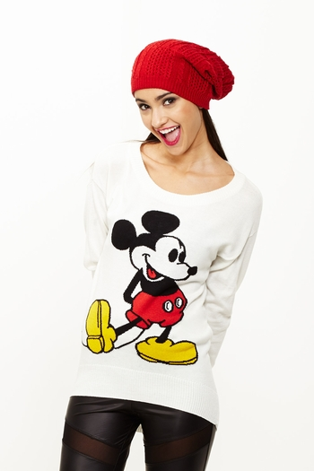 Mouse of the hour mickey off white tunic sweater