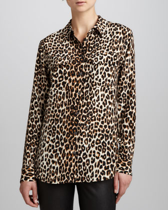 Equipment Signature Leopard-Print Slim Blouse - Neiman Marcus