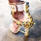 style,high heels,extravagant,gold,rhinestones,padlock,shoes,heels