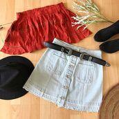 top,off the shoulder,set,fashion,rust,crochet,cute,denim skirt,denim,outfit,ootd,festival,festive,coachella,coachella outfit,festival outfit,bellexo